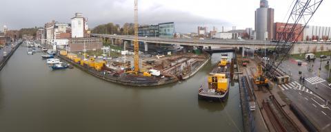 Voorbereidende werkzaamheden Vaartkombrug Leuven